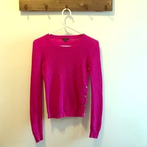 Theory pink sweater with button detail